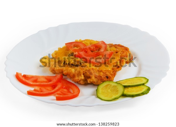 steak cucumber plate cheese isolated on white background