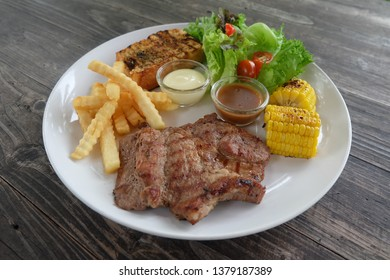 Steak with french fried and vegetable