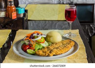Steak, fried fish