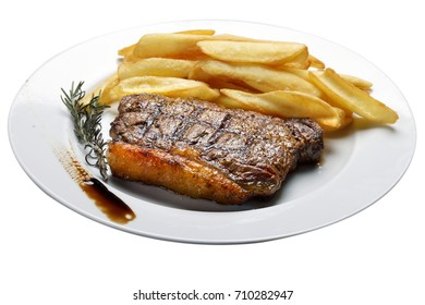 Steak with fries with white background