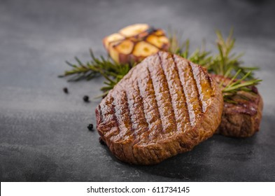 Steak with garlic, pepper and herbs, place for advertisment, place for text