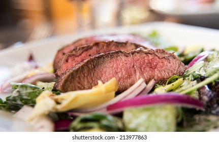Steak and Greens Salad with Grass Fed Beef and Red Onions