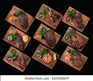 Steak grilled bbq barbecue meat fish group top view isolated wood sauce salt tasty food menu design beef pork chicken dorado