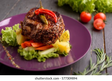Steak grilled dish with vegetables