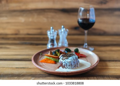 Steak on the wooden table