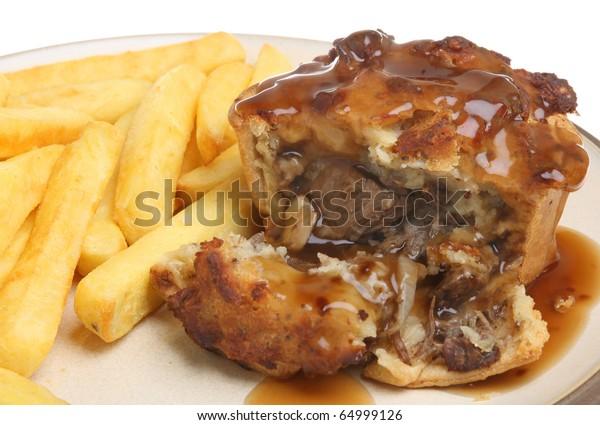Steak Pie Chips Gravy Stock Photo (Edit Now) 64999126
