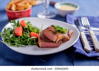 Steak with pomme frites and bearnaise sauce