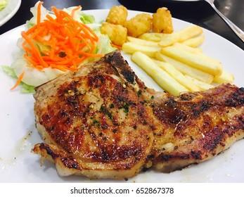 Steak, Pork Steak, Mushroom Sauce, Pork Steak, Black Pepper, Grilled Pork, Vegetable, Vegetable Salad