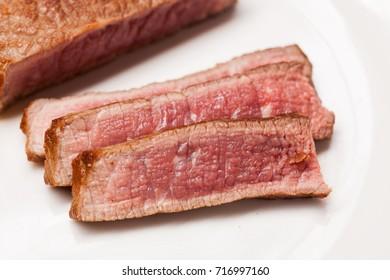 Steak, rare steak, snow beef