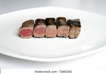 Steak rare to well done on a plate
