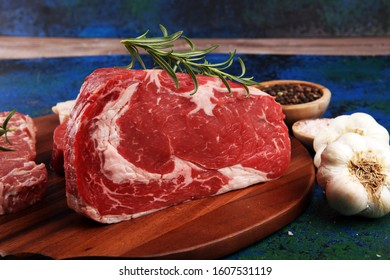 Steak raw. Barbecue Rib Eye Steak, dry Aged Wagyu Entrecote. Variety of Raw Black Angus Prime meat steaks Machete, Striploin, Rib eye, Tenderloin fillet mignon