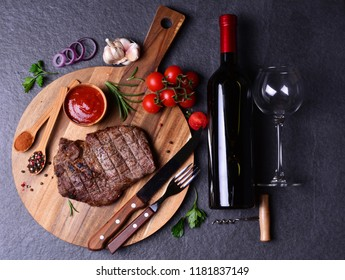 Steak ribay with wine spices and vegetables