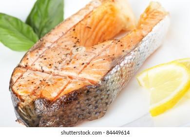 Steak salmon grilled