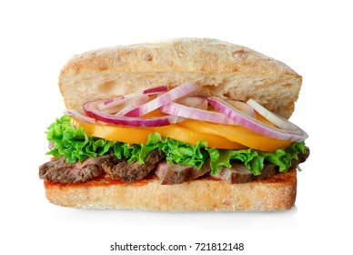 Steak sandwich on white background