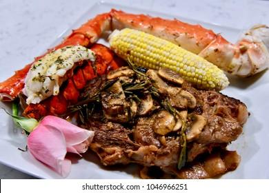 Steak and seafood dinner