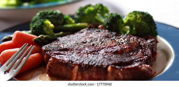 steak with vegetables closeup
