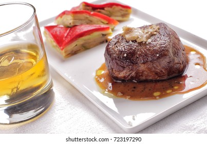 Steak with whiskey