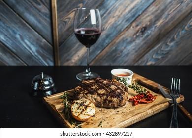 steak and wine