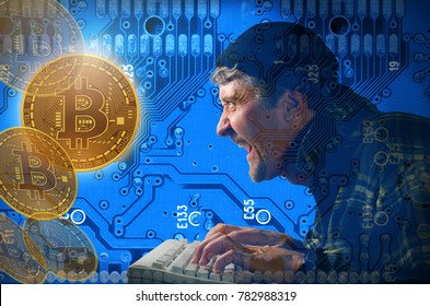 Stealing and mining Bitcoins with hacker against a circuit board background laughing as he pounds away on his computer keyboard and hacks into Bitcoin accounts from this digital monetary system.