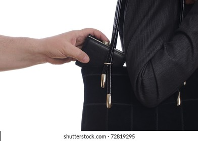 stealing purse from the bag on white
