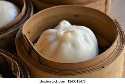 Steam Bun on a basket is ready to serve to customer at Chinese restaurant.