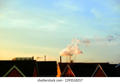 Steam from the chimneys at the sugarbeet factory in Bury St Edmunds, UK