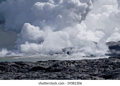 Steam cloud formed by the flow of Lava on Hawai'i from Mt. Kilauea.