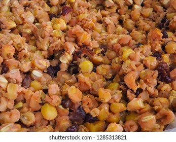Steam corn seeds or maize for background, Ecuadorian traditional food from andes mountain