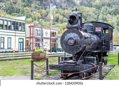 Steam Engine/ Locomotive 52 from the White Pass and Yukon Railway exhibit on Main Street in Skagway, Alaska.
