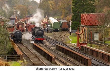 Steam engine preparing to depart