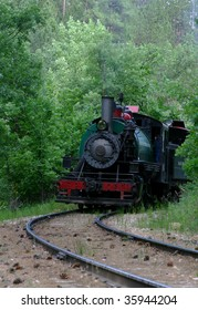 Steam Engine (Train) Coming Around the Bend