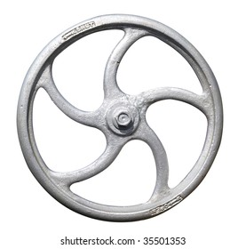 Steam Engine Valve Wheel isolated with clipping path