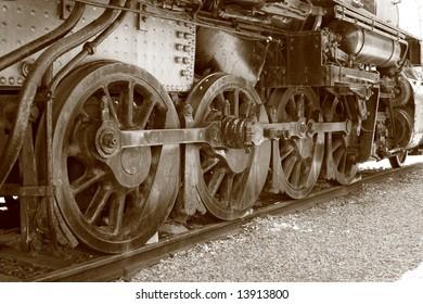 Steam Engine Wheels In Sepia