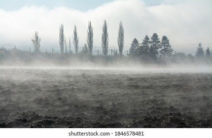 steam evaporating from an arable field