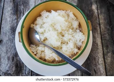 Steam jasmine rice serve on Tiffin carrier