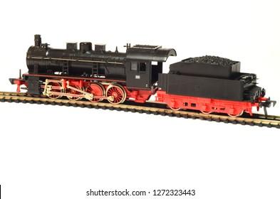steam loco model isolated over white background - Immagine
