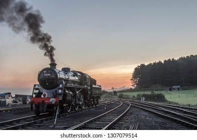 Steam loco at sunrise