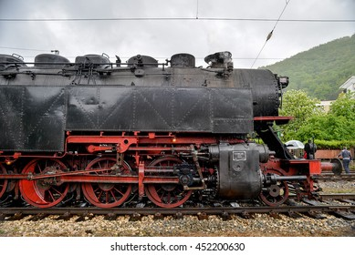 Steam locomotive 46.03 of Bulgarian national railway company (BDZ), the largest tender locomotive in Europe and the big locomotive wheels, Bulgaria, April 24, 2016.