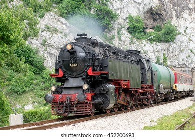 Steam locomotive 46.03 of Bulgarian national railway company (BDZ), the largest tender locomotive in Europe, during vintage and romantic voyage with railroad enthusiasts, Bulgaria, April 24, 2016.