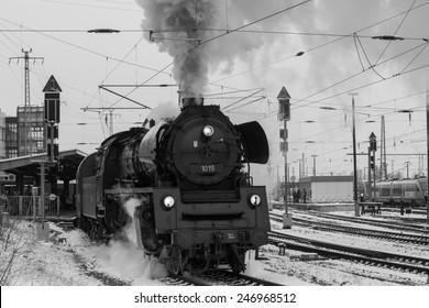 Steam locomotive, Cottbus, Germany