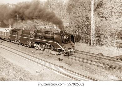 Steam locomotive, Cottbus, Germany. /White balance changed/