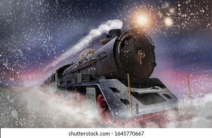 A steam locomotive drives through a snowstorm at high speed at dusk