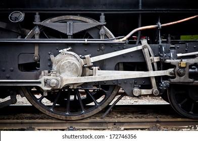 steam locomotive geared wheels close-up