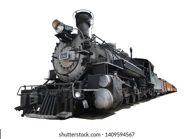 Steam locomotive isolated on white background