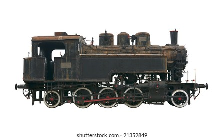 Steam locomotive made in 1912 isolated on white background
