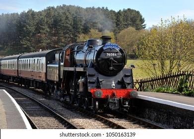 Steam locomotive The North Norfolkman, standard class engine at Weybourne Railway Station, part of the North Norfolk Railway, also known as the poppy line steam heritage railway in Norfolk, UK