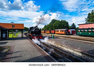 Steam locomotive on the island of Ruegen in Germany.