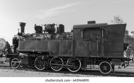 Steam locomotive at the railway station