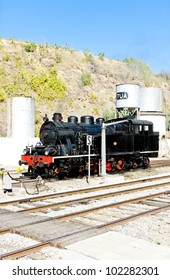 steam locomotive at railway station in Tua, Douro Valley, Portugal