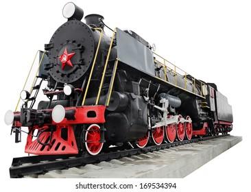 Steam locomotive, retro monument